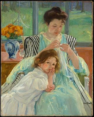 Young Mother Sewing Original