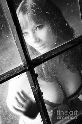 Portraits Photograph - Young Woman In Lingerie Sits On The Attic Behind A Window by Wolfgang Steiner