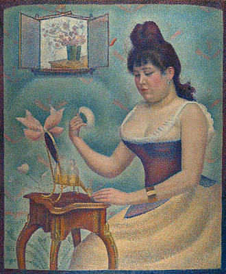 Toilet Painting - Young Woman Powdering Herself by Georges Seurat