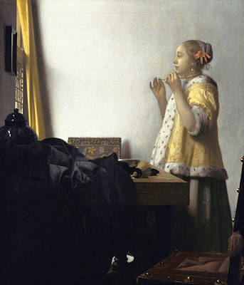 Woman Praying Painting - Young Woman With A Pearl Necklace by Johannes Vermeer