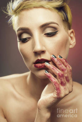 Young Woman With Glittered Hands And Lips Art Print