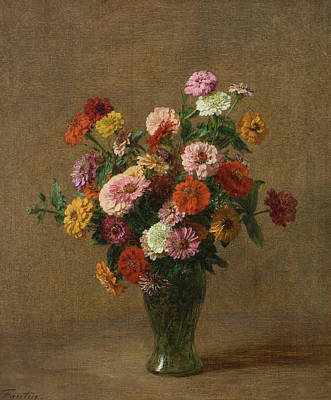 Painting - Zinnias by Henri Fantin-Latou