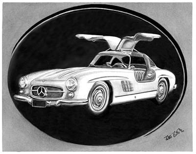 Car Art Drawing - 300 Sl Gullwing by Peter Piatt