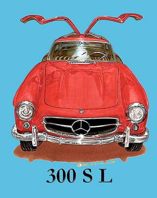 Painting - 300 Sl Mercedes Benz 1955 by Jack Pumphrey