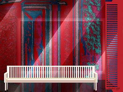 Decorative Benches Digital Art - 304 - Still-life With Bench by Irmgard Schoendorf Welch