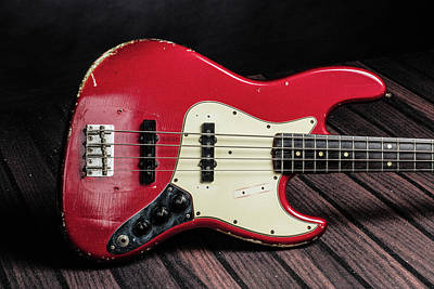 Photograph - 305.1834 Fender Red Jazz Bass 1965 In Color by M K  Miller