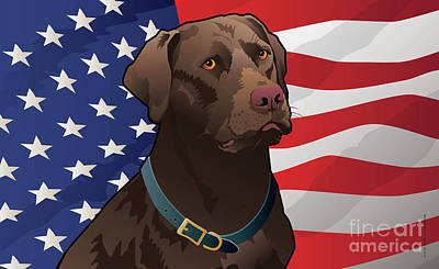 Chocolate Labrador Retriever Digital Art - 30x18-us-chocalab-mat by Joe Barsin