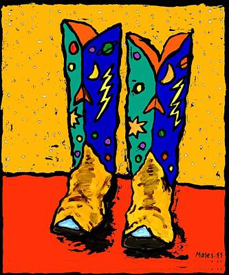 Painting - 30x36  Boots On Yellow by Dale Moses