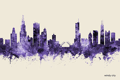 Digital Art - Chicago Illinois Skyline by Michael Tompsett