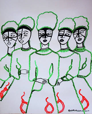Painting - Five Wise Virgins by Gloria Ssali