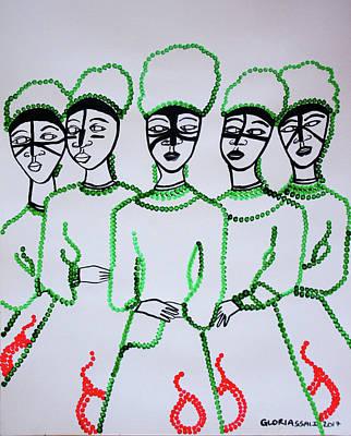 Five Wise Virgins Art Print by Gloria Ssali
