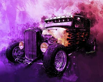 Digital Art - 31 Ford Model A Fiery Hot Rod Classic by Chas Sinklier
