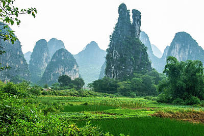 Photograph - Karst Mountains And  Rural Scenery by Carl Ning