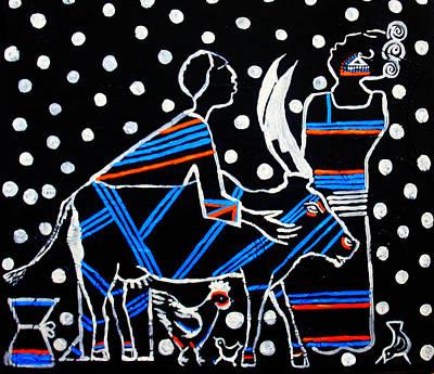 Painting - Kintu And Nambi by Gloria Ssali