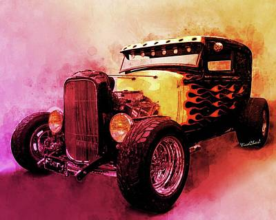 Digital Art - 31 Model A Ford Fiery Watercolour by Chas Sinklier