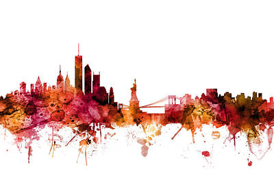 Digital Art - New York Skyline by Michael Tompsett