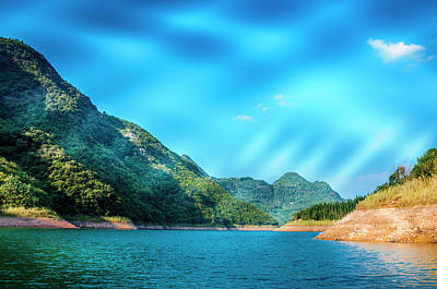 The Mountains And Reservoir Scenery With Blue Sky Art Print