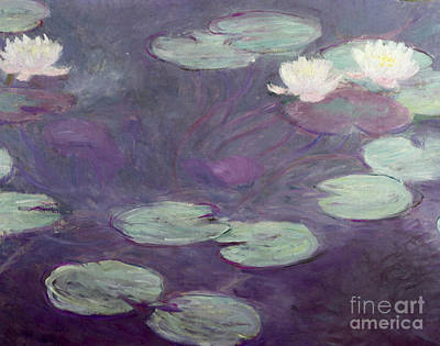 White Flowers Painting - Waterlilies by Claude Monet
