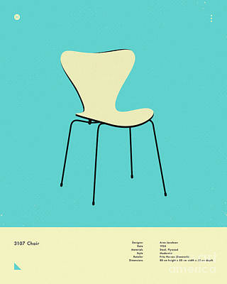 Infographic Digital Art - 3107 Chair 1955 by Jazzberry Blue
