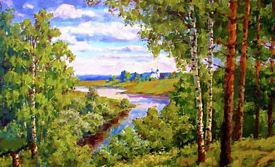 Blue Painting - Nature Painted Landscape by Edna Wallen
