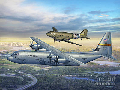 314th Aw Legacy - C-130j And C-47 Print by Stu Shepherd