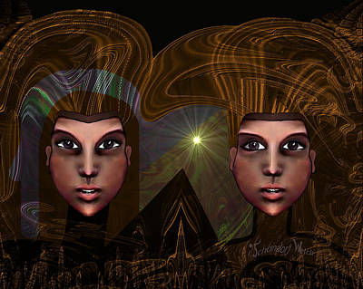 Digital Art - 318 - Twin Faces 2017 by Irmgard Schoendorf Welch