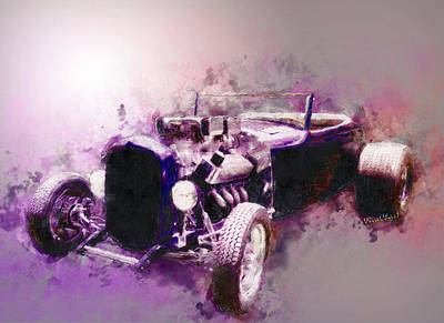 Mixed Media - 32 Ford Low Boy Roadster Watercoloured Sketch by Chas Sinklier