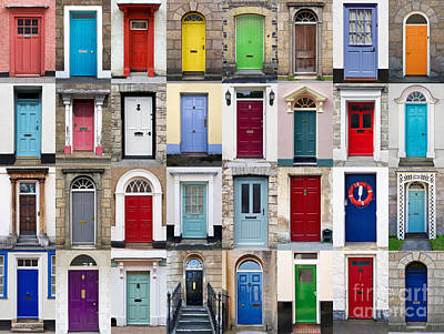 32 Front Doors Horizontal Collage  Art Print by Richard Thomas