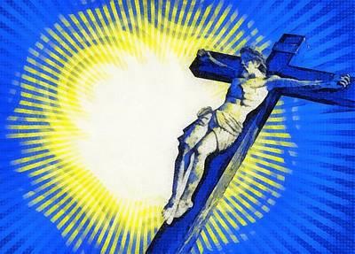 Calvary Digital Art - Jesus Christ - Religious Art by Elena Kosvincheva