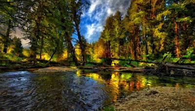 Oil Digital Art - Lake Landscape by Victoria Landscapes