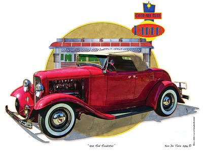 Drawing - 32 Red Roadster by Kenneth De Tore