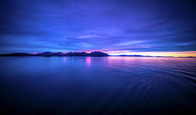 Photograph - Sunset Over Alaska Fjords On A Cruise Trip Near Ketchikan by Alex Grichenko