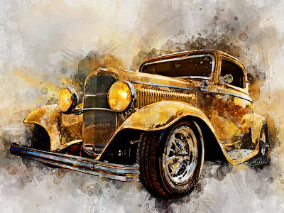 Digital Art - 32 Three Window Coupe Watercolour by Chas Sinklier