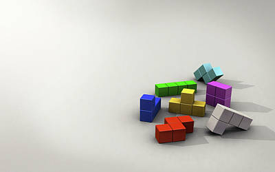 Tetris Block Digital Art - 32118 3d 3d Tetris Blocks by Anne Pool