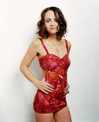 Christina Digital Art - 329415 Women Actress Brunette Long Hair Looking At Viewer Christina Ricci Bare Shoulders Hands On Hips Legs Portrait Display Minidress Red Dress Smiling White Background Brown Eyes by Anne Pool