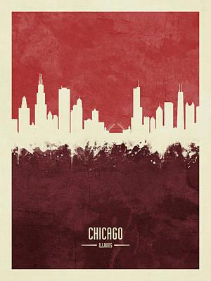 Chicago Skyline Wall Art - Digital Art - Chicago Illinois Skyline by Michael Tompsett