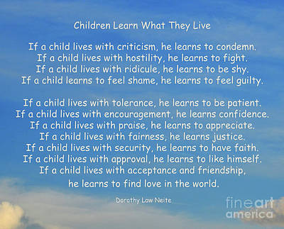 Inspire Photograph - 33- Children Learn What They Live by Joseph Keane