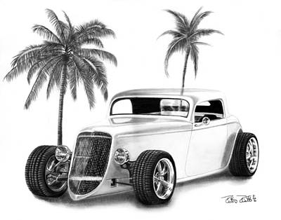 Graphite Drawing - 33 Ford Coupe by Peter Piatt