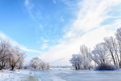 Dnieper Wall Art - Photograph - Frozen Water, Snow And Ice On The Dnieper River by Alain De Maximy