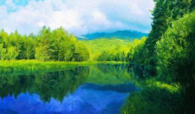 Landscape Painting - Nature Landscape Oil Painting For Sale by Margaret J Rocha