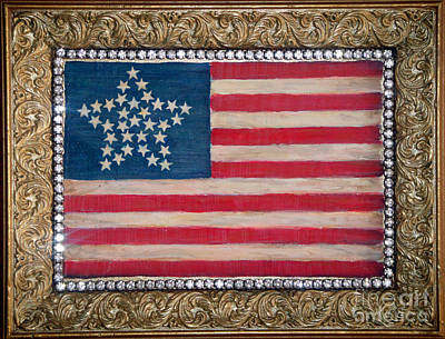 Gold Star Banner Painting - 33 Star American Flag. Painting Of Antique Design by Sofia Metal Queen
