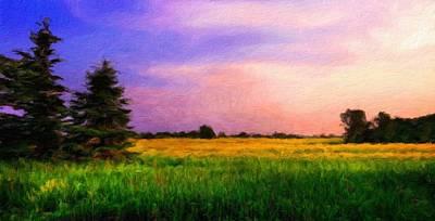 Dusk Painting - Nature Art Landscape by Margaret J Rocha
