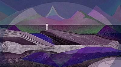 Twilight Zone Digital Art - 332 - Man On The Rocks  by Irmgard Schoendorf Welch