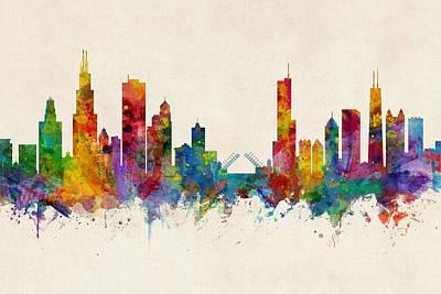Digital Art - Chicago Illinois Skyline by Michael Tompsett