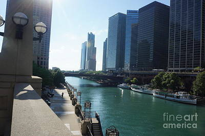 Painting - City Of Chicago Landscape - Michigan Lake In Illinois By Adam Asar by Celestial Images