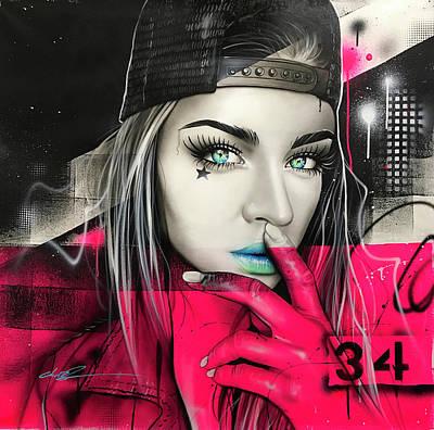 Urban Art Painting - 34 Dj Girl by Christian Chapman Art