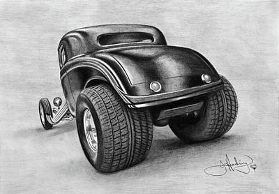 Full Body Drawing - 34 Ford Coupe Drawing by John Harding
