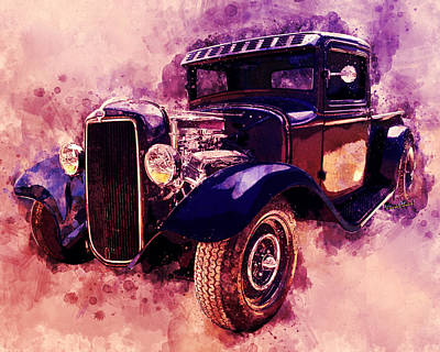 Digital Art - 34 Ford Rat Rod Pickup Watercolour by Chas Sinklier