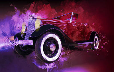 Digital Art - 34 Ford Roadster Spunky Monkey Home Before Sunrise by Chas Sinklier