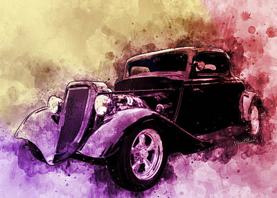 Digital Art - 34 Ford Three Window Coupe Pen And Ink Watercolour by Chas Sinklier